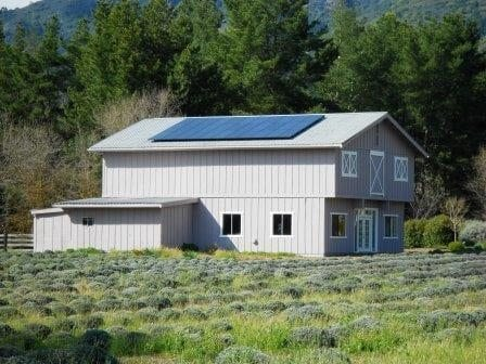 Residential solar installation on metal corrugated roof