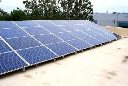 Commercial Solar- Flat roof system with tilt array