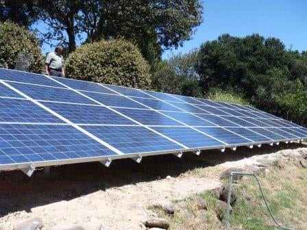 Large ground mount residential solar panels array